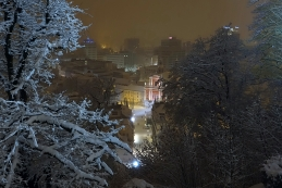 Pogled na Prešernov trg z Ljubljanskega gradu